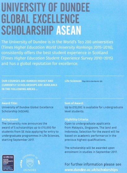 University of Dundee Scholarships